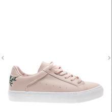 Pink women shoes with embroidery casual sneaker