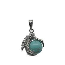 Ювелирные изделия 925 стерлингового серебра бирюзовый 15 мм сфера дракон коготь кулон