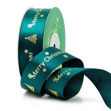 NX275 factory Wholesale red or green Christmas satin ribbon custom LOGO grosgrain gift ribbon