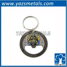 round metal enamel bottle opener key chain