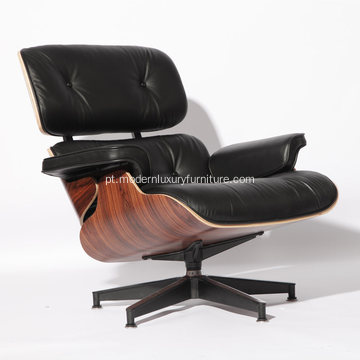 Couro Clssic Charles Eames Lounge Chair com otomano