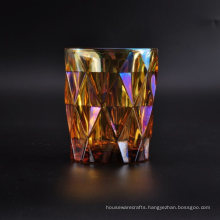 Colored Glass Candle Vessel with Iridescent Decoration
