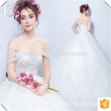 Romântico Lace Applique vestido de noiva Vestido de casamento comprimento do assoalho mangas vestido de damas para banquete de casamento 2016