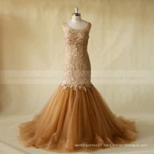 Noble Lace Beads Tulle Mermaid Sexy See Through Back Scoop Neck Wedding Dress