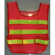 Gilet de protection en mousse polyester / voile d'avertissement avec bande réfléchissante