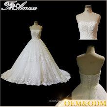Tiamero Halter multi-camada de renda tridimensional de renda artesanal sem alças, uma linha vestido de casamento nupcial