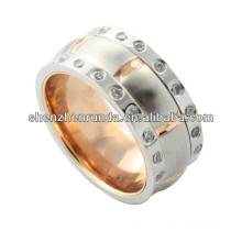 2014 fashion ring ,rose gold high polished stainless steel ring with big crystal, men ring