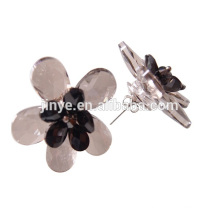 Handmade Big Bold Smoky Crystal Flower Stud Earrings For Party or Shows