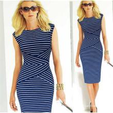 Cheap Stock Dress Women Elegant Ol Stripe Party Dress