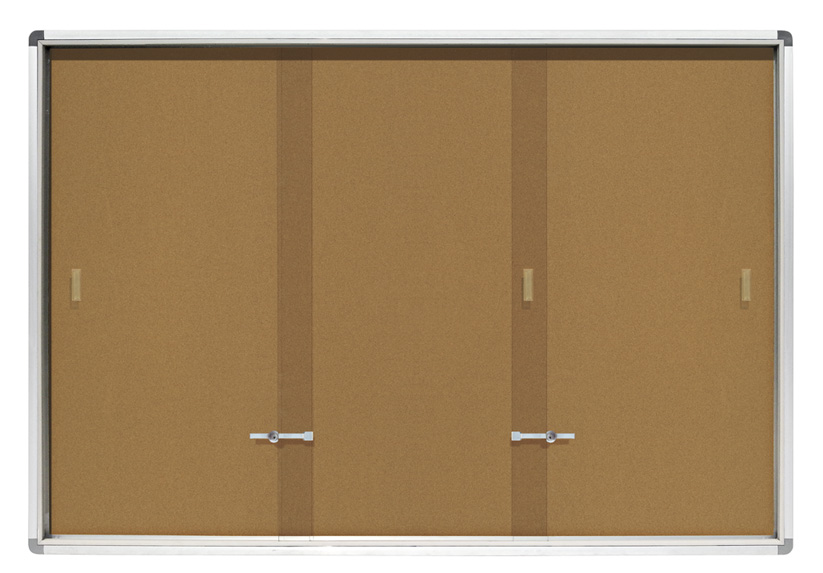 Sliding Doors Notice Board with Lock