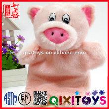 Juguete de peluche de estilo de diseño realista, títere de mano de felpa de cerdo rosado para niños