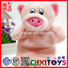 Realistic design style stuffed animal toy, plush pink pig shape hand puppet for kids
