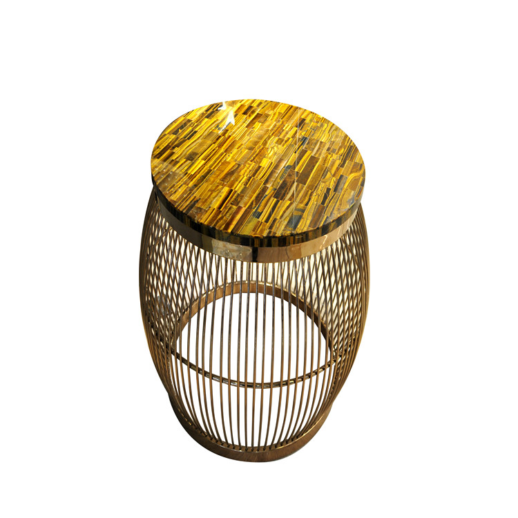 CANOSA yellow tiger eye coffee table with golden stainless steel