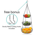 3-Tier Fruit Bowl Metal Wire Fruit Basket Bread Vegetable Organizer Storage Organizer Black Basket