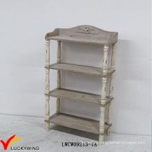Floor Standing Antique Wooden 4 Tier Display Shelf