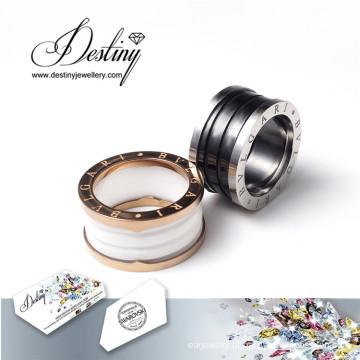 Destino joias cristais Swarovski anel anéis de cerâmica