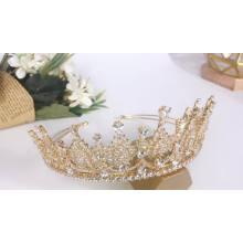 Handmade Luxury  Full CZ Cubic Zirconia Zircon Beauty Queen Crystal Gold Headpiece Crown Bridal Tiara Wedding