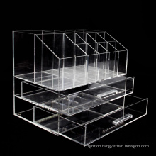 Clear Makeup Box with 2-Drawers Plastic cosmetic organizer Acrylic lipstick organization display