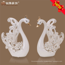 Wholesale factory price craft wedding gift ceramic hollow sculpture white swan for sale
