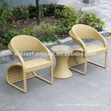 Special design beige rattan patio coffee table set