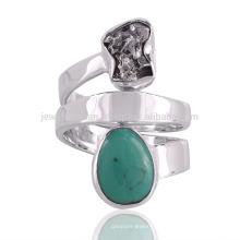 Meteorito Natural Áspero e turquesa tibetana Gemstone 925 Sterling Silver Spinner Ring