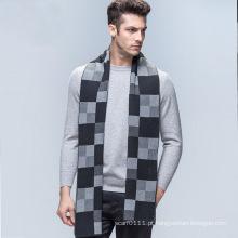 Moda masculina verificado padrão de lã de malha de inverno lenço longo (yky4605)
