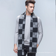 Мужская мода проверено шаблон шерсть вязаный зимний длинный шарф (YKY4605)