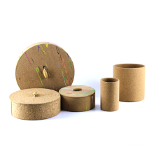 Wholesale custom printed logo corrugated paperboard box round lid and base jewelry cosmetic cork cube gift box