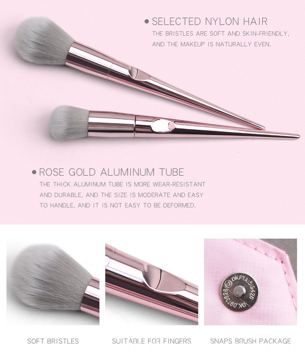 10 Piece Rose Gold Makeup Brushes Set detail