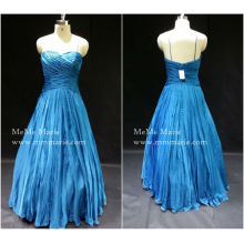 [In Stock] Open Back Spaghetti Strap Sweetheart Pleat A Line Ball Gown Evening Dress Prom Gown BYE-14055
