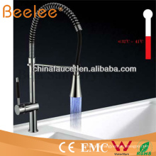 China Sanitary Ware LED Self-Powered Pull-Down Spray Cold and Hot Water Chromed Brass Spring Kitchen Faucet