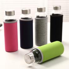 Colorido deportes botella de agua de vidrio con cubierta de tela (SLSB04)