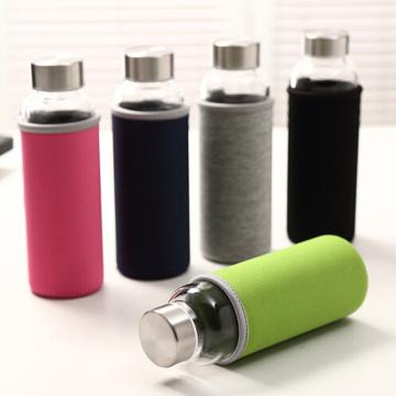 Bunte Sport-Glas-Wasser-Flasche mit Stoff-Abdeckung (SLSB04)