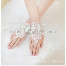 Weiß Heiße Verkaufs-Braut-Hochzeits-Kleid-Brauthandschuhe Fingerlose Rhinestone-Spitze-Satin-Brauthandschuhe