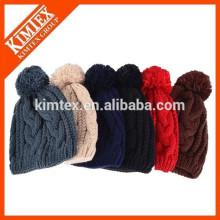 New hip hop slouch custom knitted pom beanie hat
