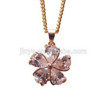 Fashion Simple Design Gold Remplir Zircon Collier de fleurs