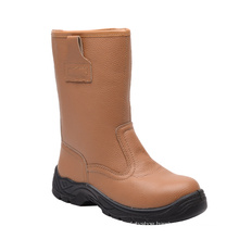 Casual Style Brown Split Embossed Leather Safety Boots (HQ05075)