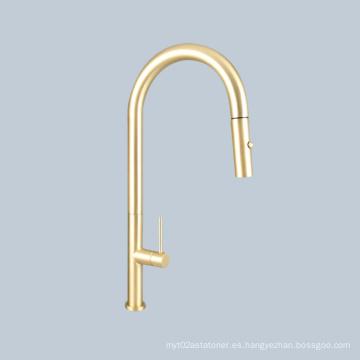 Manija del interruptor del lavabo del lavabo grifo telescópico dorado