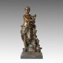 Nude Figure Statue Lady Bathing Bronze Sculpture TPE-122