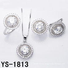 Juego de joyas Joyería de plata chapada en rodio de moda.