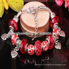 Bracelet en cristal de murano en cuir de style européen DIY