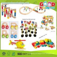 2015 Venda por atacado e novo item brinquedos de veículos de madeira, conjunto de trem ferroviário brinquedos de brinquedos educacionais para crianças, carro de madeira de alta qualidade