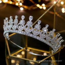 High Quality Gorgeous Zircon Zirconia Prom Crystal Crown Wedding Headpiece Tiara