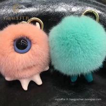 Boule de porte-clés de fourrure de vison pelucheux d'excellente qualité