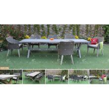 COLECCIÓN de CANARY - La nueva estación vendedora caliente que cena fija las sillas y la tabla del mimbre 6 de Rattan del PE del PE para los muebles de jardín al aire libre