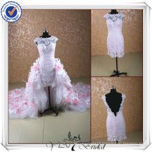 JJ0098 High Neck Removable Long Train Lace High-Low Wedding Dress