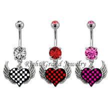 14G Steel Piercing Jewellery Cubic Zirconia Heart Belly Rings
