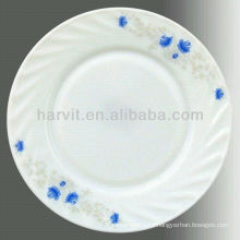 Opal White Glass Customized 10.5'' Dinner Plate Flat Dishes Plates For Restaurants