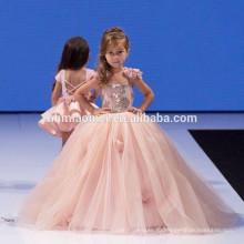Красивый Розовый Цвет Тулл Цветок Бальное Платье Макси Без Рукавов Платья Конструкции Новая Модель Девушка Платье