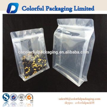 El bolso caliente de la comida del bolso de la cremallera del bolso de pie de la venta se levanta bolsa de plástico transparente